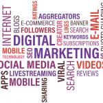onlinemarknadsförings bild med orden digital marketing, e-commerce, social media, video, mobile technology och många fler onlinemarknadsföringsbegrepp