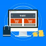 affiliatemarknadsföring och e-handel illustreras med en dator, shoppingväska och pengar