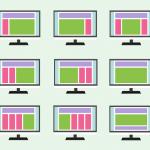 bilder på datorer och sajter med olika layout för att illustrera content management system (CMS)