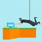 En ninja som försöker stjäla lösenord symboliserar GDPR - General Data Protection Regulation - Dataförordningen